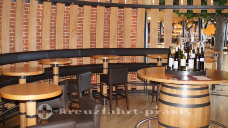 Bar tables in the vinotheque