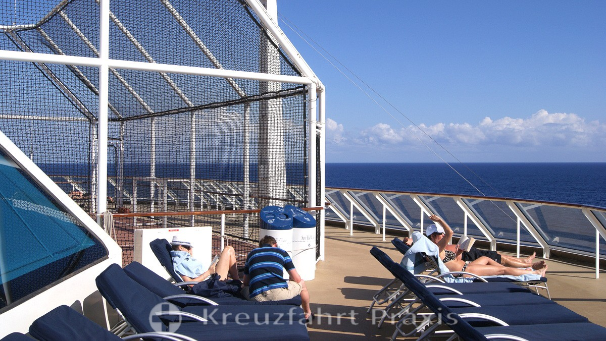 Celebrity Equinox - sunbathing areas next to the basketball court