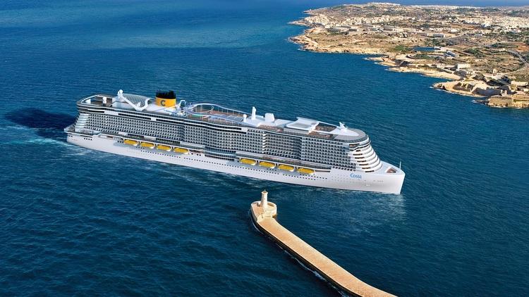 Costa Crociere - Neubau vor Hafenkulisse - Rendering