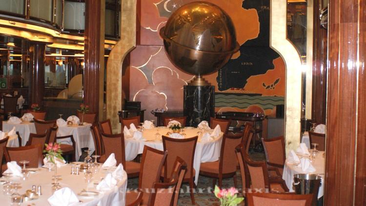 Cunard - Queen Victoria - Britannia Restaurant lower level with Captain's Table