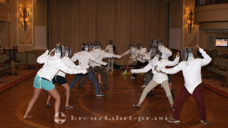 Cunard - Queen Victoria - Fencing lessons in the Queens Room