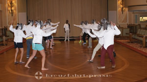 Fencing training in the Queens Room