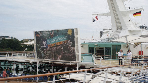 Legend of the Seas - movie screen on the pool deck