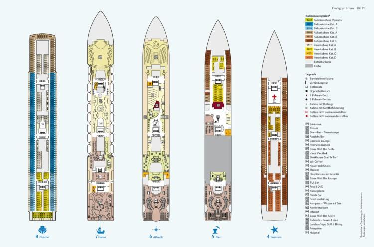 Deckplan mein Schiff 1 - Decks 4 bis 8