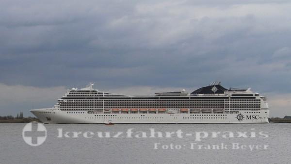 MSC Magnifica auf der Elbe vor Stade
