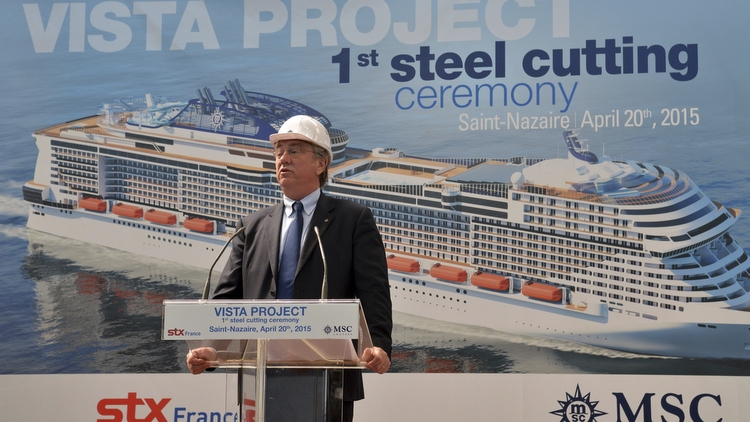MSC Meraviglia - Erster Stahlschnitt 20.04.2015