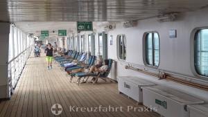 MS Rotterdam - das umlaufende, gedeckte Promenadendeck