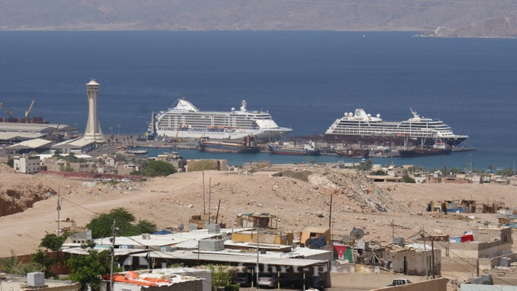 Akaba - Blick auf die Liegeplätze der Kreuzfahrtschiffe