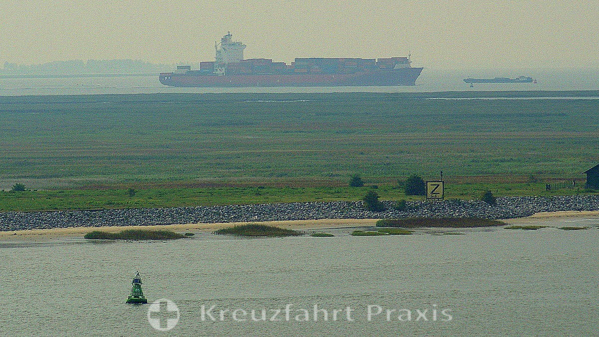 Container ship on the Scheldt