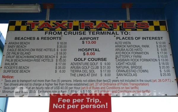 Aruba - Die Taxitarife hängen aus