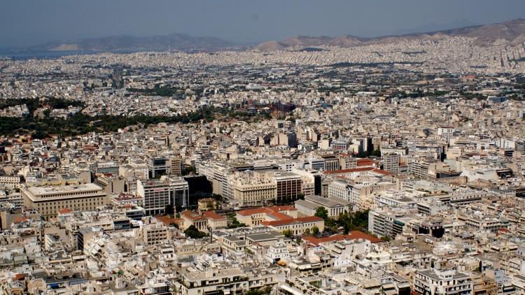 Athens Häusermeer mit der Trilogie