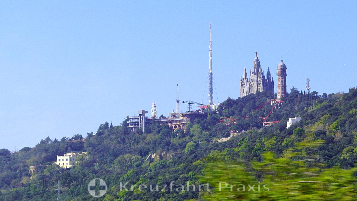 Local mountain Tibidabo with church and amusement park