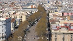 Barcelona - Blick von der Kolumbussäule auf die Rambla