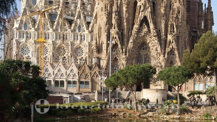 Barcelona - Section of the facade of the Sagrada Fmilia
