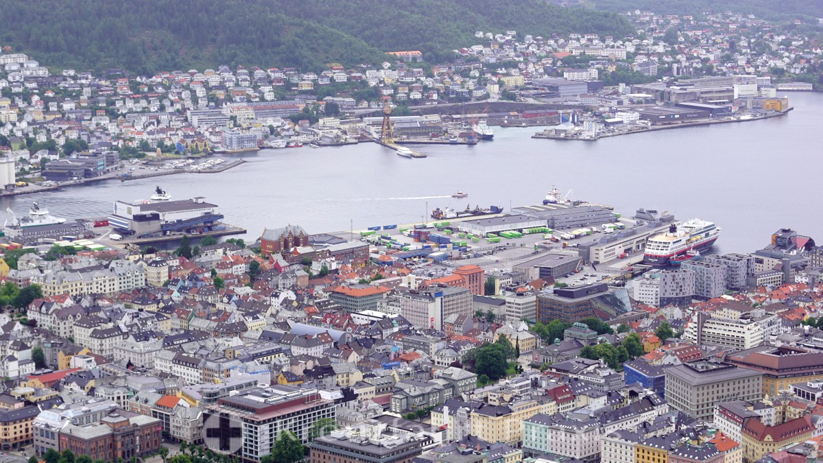 Bergen's harbor with the Hurtigruten quay