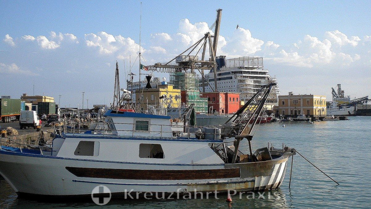 Catania port with cruise ship MSC Sinfonia