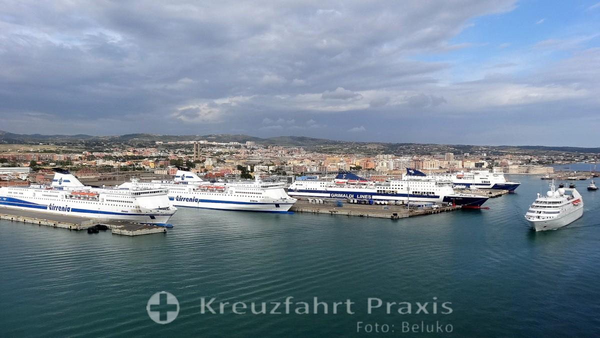 Cruise ships in the port of Civitavecchia