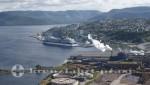 Corner Brook - Blick auf Cruise Terminal, Ppapierfabrik und Kläranlage