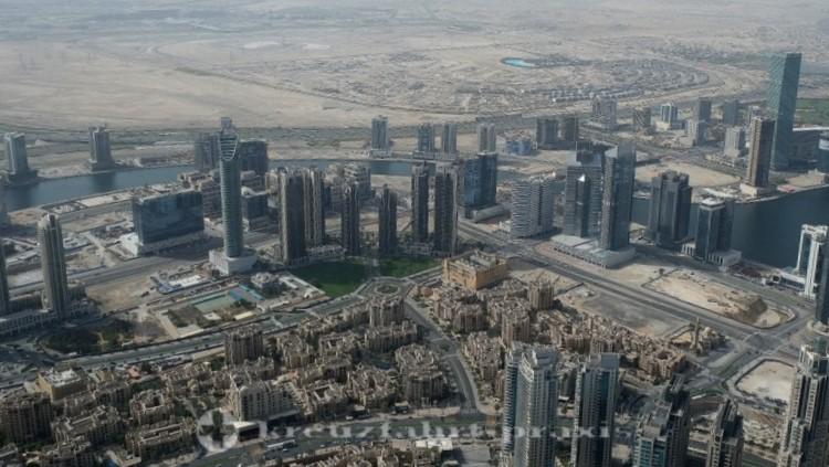 Dubai-City - Blick vom Burj Khalifa- Blickrichtung Südwest