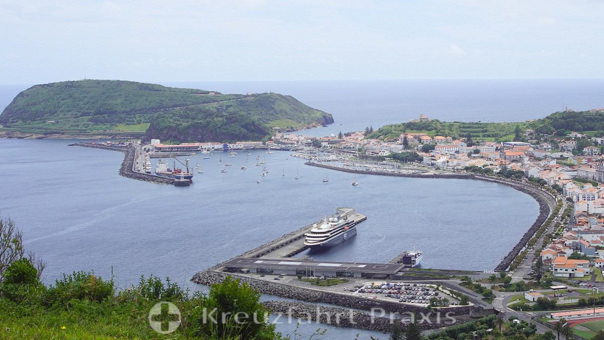 In the foreground, Horta's ferry and cruise terminal