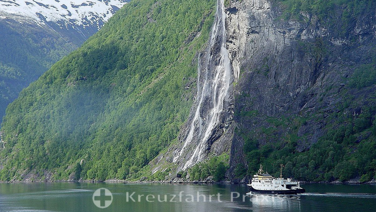 The Bridal Veil Waterfall in the Geirangerfjord