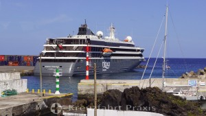 The WORLD VOYAGER in the port of Praia