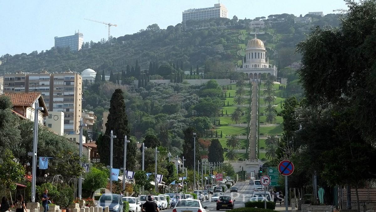 The Bahai Gardens as seen from Ben Gurion Boulevard