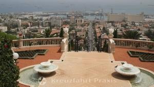 Bahai Gardens - view of Haifa's harbor