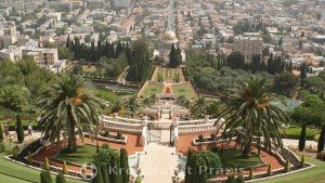 View of the terraces of the Bahai Gardens and the shrine