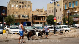 On the way in the port district of Akko