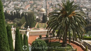 Bahai Gardens with the domed building