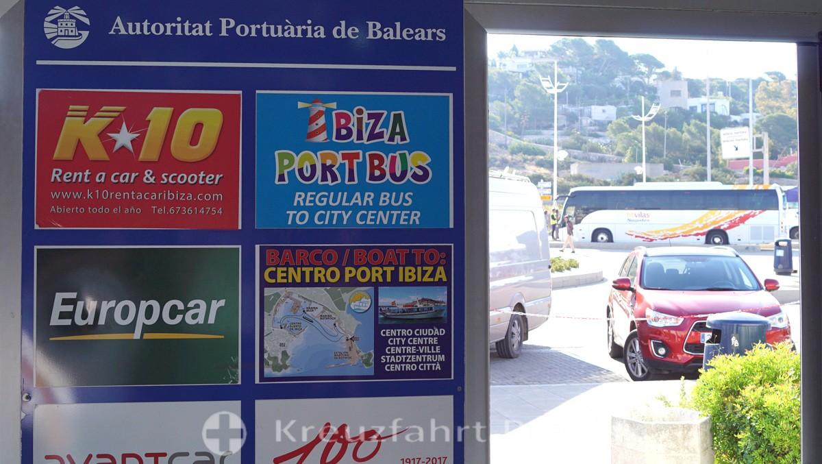 Ibiza Cruise Termial - Hinweise auf die Autovermieter und das Centro Boat