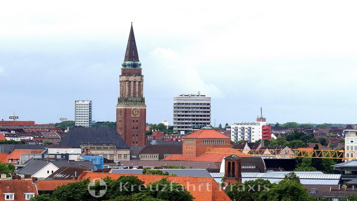 Kiel's city skyline with the town hall tower