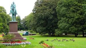 Kiel - Castle garden with the equestrian statue of Wilhelm I.
