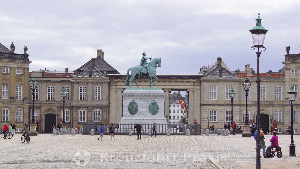 Amalienborg Palace with equestrian statue