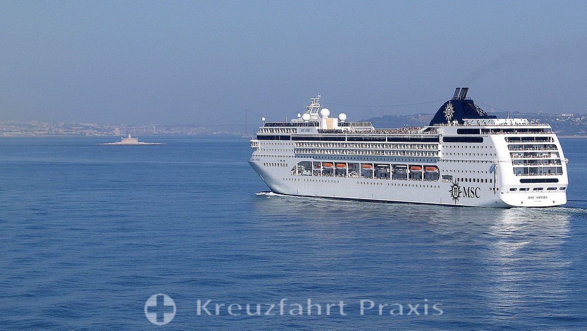 Cruise ship on the Tagus River in front of Lisbon