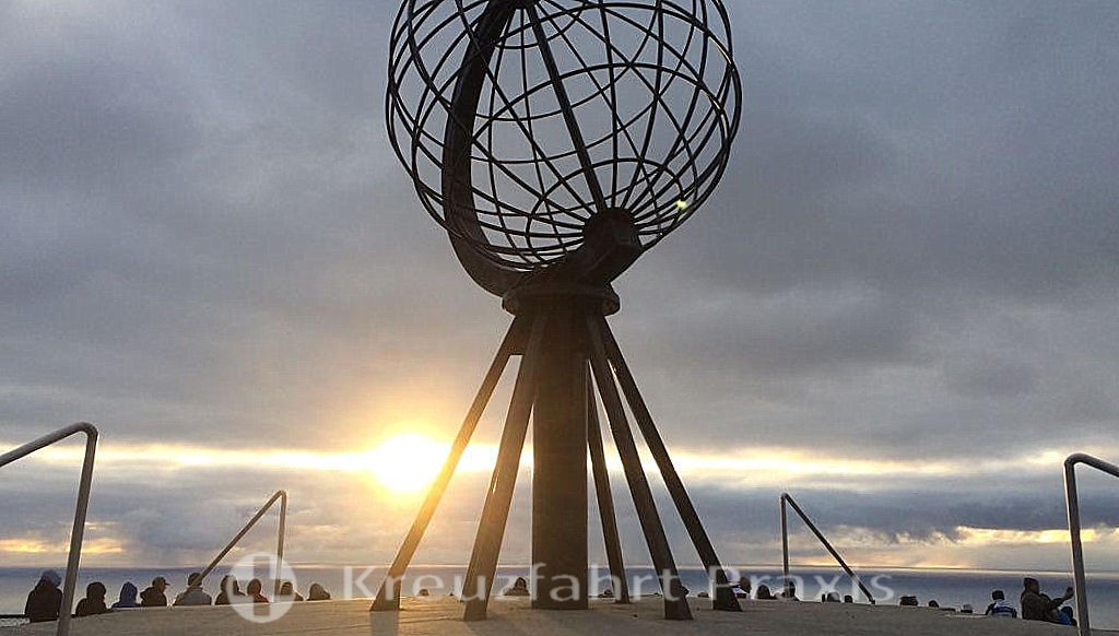 The globo of the North Cape in the midnight sun