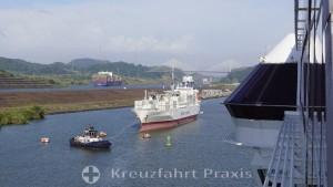 Panama Canal - Miraflores Lake - new canal section and Centennial Bridge