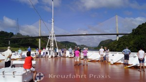 Panama Canal - bow area open to passengers and Centennial Bridge