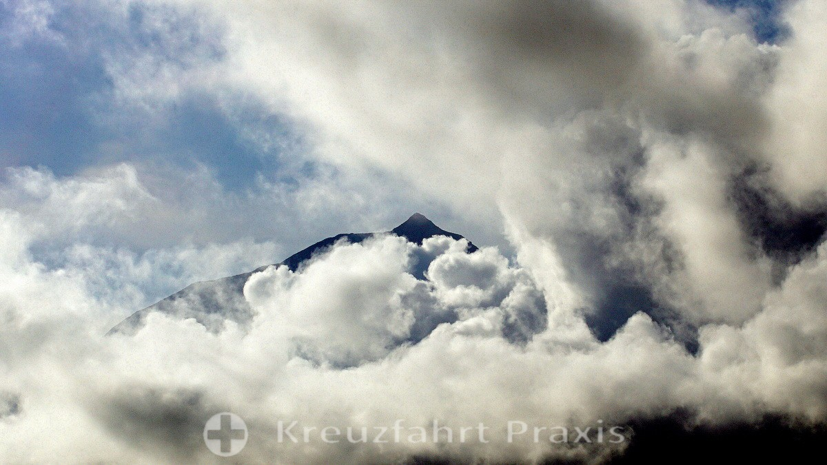 Pico volcano - surrounded by clouds