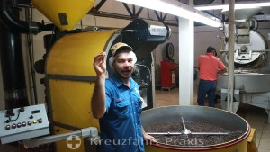 Espíritu Santo - Rösten der Kaffeebohnen