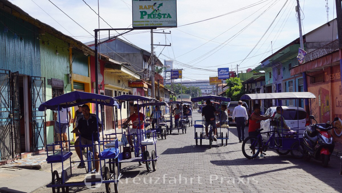 The cycle rickshaw - the main means of transport in Puerto Corinto
