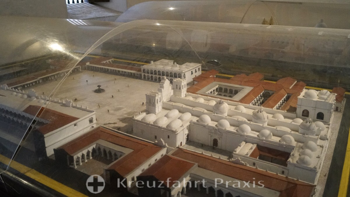 Antigua - Modell des Parque Central mit der Kathedrale San José