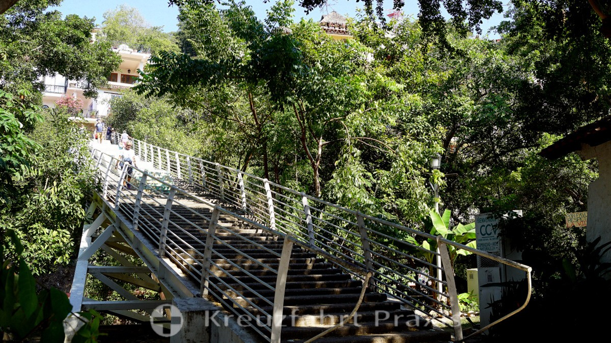 Die Treppenbrücke im Gringo Gulch-Viertel