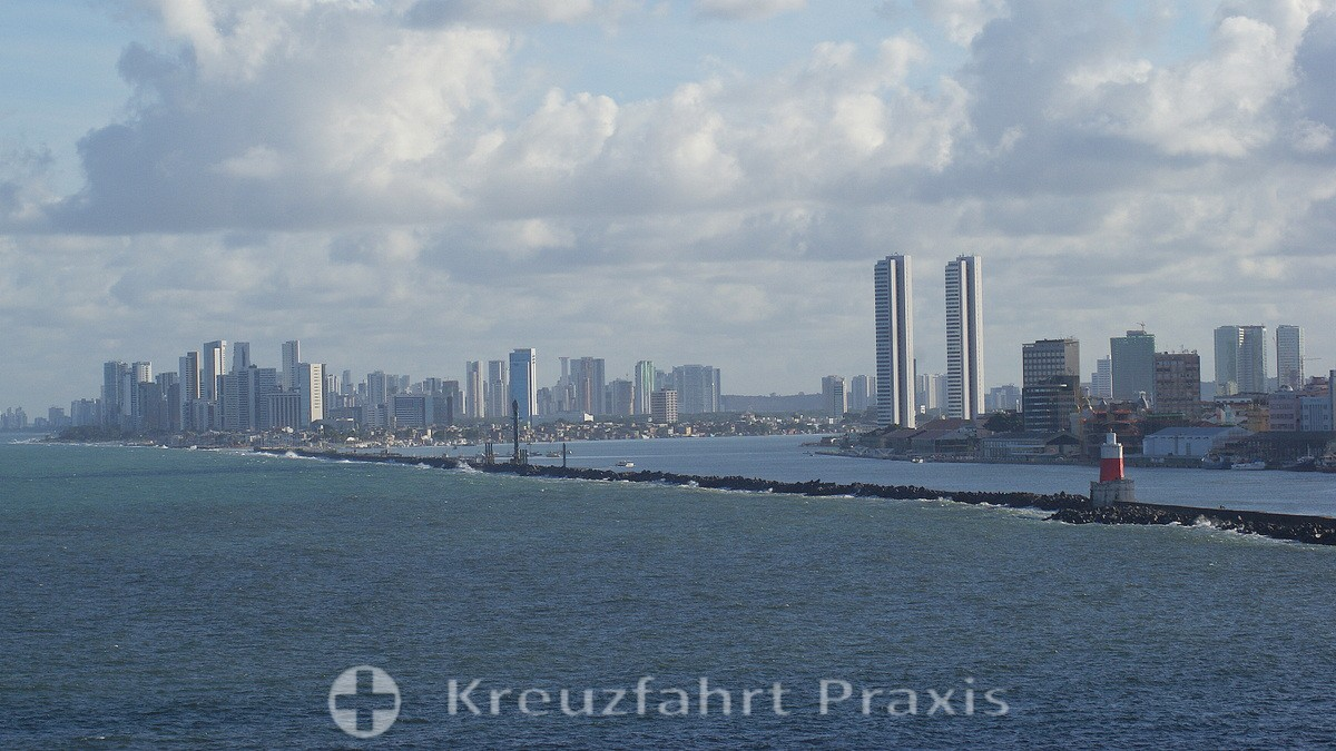 The high-rise backdrop of the port city of Recife