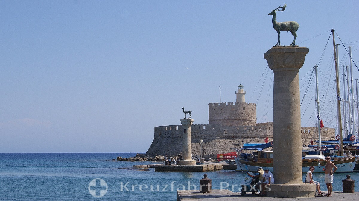 Rhodes city - deer and hind with Saint Nicholas fortress