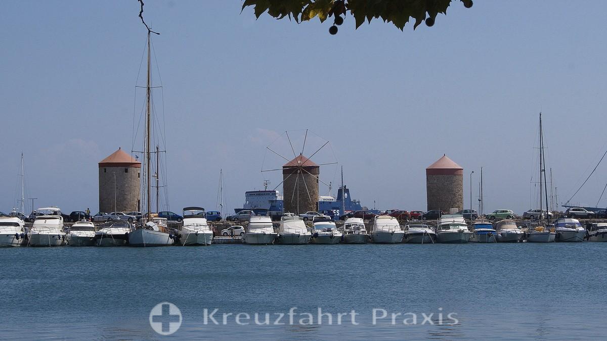 Rhodes Town - Flour mills on the pier of the Mandraki port