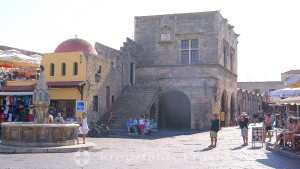 Rhodes City - Platia Ippokratous with the Castellan's Palace