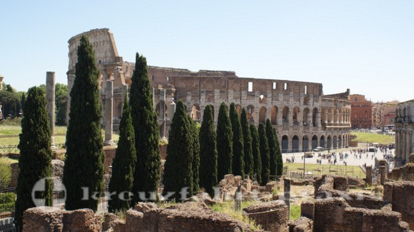 Rome - Colosseum seen from the Roman Forum