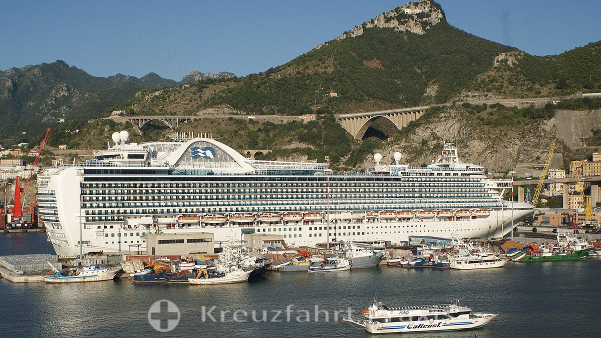 Salerno - Cruise ship Emerald Princess in the industrial port